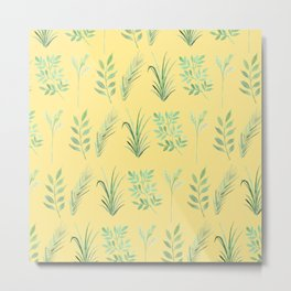 Bouquet of branches and leaves pattern,  Yellow background Metal Print