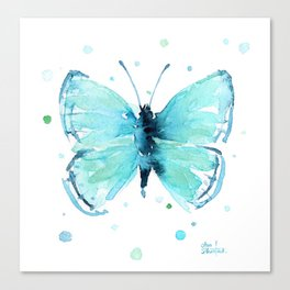 Blue Abstract Butterfly Canvas Print