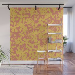 Yellow and Coral Botanical Pattern - Broken but Flourishing Wall Mural