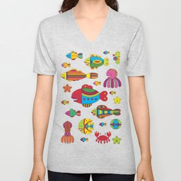 Stylize fantasy fishes under water Unisex V-Neck