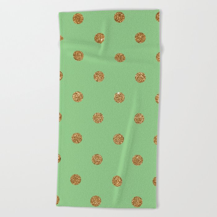 Dark Sea Green3 Gold Glitter Dot Pattern Beach Towel
