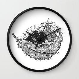 Feathered Waves Wall Clock