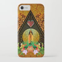 surfboard iPhone & iPod Cases featuring Surfboard with flowers  by nicky2342