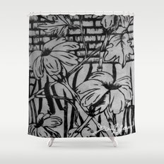Black and White Palm Flowers by my Mom Shower Curtain