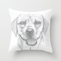 labrador Throw Pillows featuring Labrador by Malgorzata Zabawa