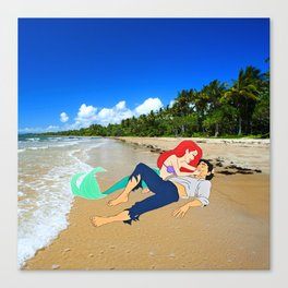 The Little Mermaid Ariel and Eric on the Beach Canvas Print