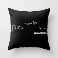 los angeles Throw Pillows featuring Los Angeles by Fabian Bross
