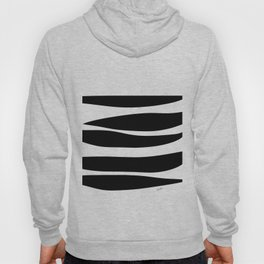 Irregular Stripes Black White Waves Art Design Hoody