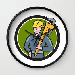 Plumber Holding Wrench Circle Cartoon Wall Clock
