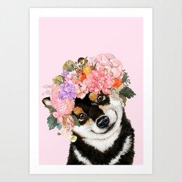 Black Shiba Inu with Flower Crown Pink Art Print