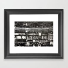 House of Elements - Black and white cityscape lithograph Framed Art Print