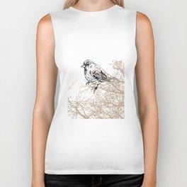 Bird black and white sketch Biker Tank