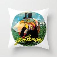 gentleman Throw Pillows featuring Gentleman by dogooder