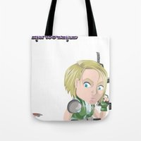 valentina Tote Bags featuring Lola Valentina placing mines by PocketBrawlers