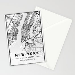 New York Light City Map Stationery Cards