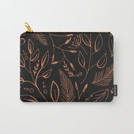 Holiday Pattern in black background and rose leaves Carry-All Pouch