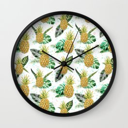 Summer tropical green yellow pineapple leaves watercolor floral Wall Clock