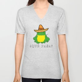 Qué Pasa? Funny Mexican Toad With Sombrero Cigarette Frogs & Amphibians Design Unisex V-Neck