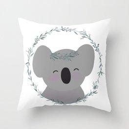 Happy Smiling Koala with Eucalyptus Tiara and Wreath! Throw Pillow
