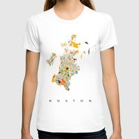 boston T-shirts featuring Boston map by Nicksman