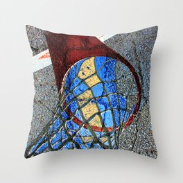 Basketball Art Alleyway Throw Pillow