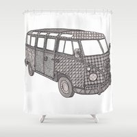 vw bus Shower Curtains featuring Tangled VW Bus - side view by Cherry Creative Designs