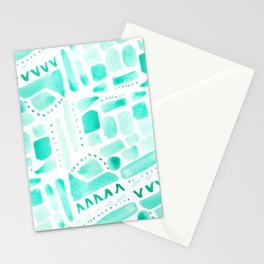 Watercolor Pattern Play in Green Stationery Cards