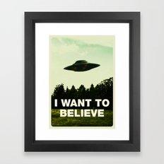 UFO, I Want To Believe Framed Art Print