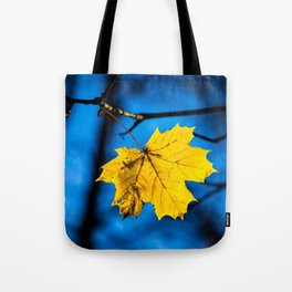 Yellow Mapple Leaf On Blue Tote Bag