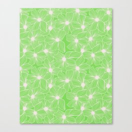02 White Flowers on Green Canvas Print