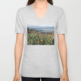 Orange blooms along the Pacific Unisex V-Neck
