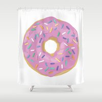 donut Shower Curtains featuring Donut by Sian Murray Art