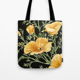 California Poppies on Charcoal Black Tote Bag