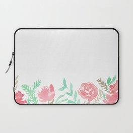 Pink Florals And Mint Leaves Laptop Sleeve