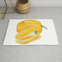 yellow bell pepper watercolor Rug