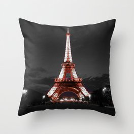 Paris Eiffel Tower Pink Night Throw Pillow
