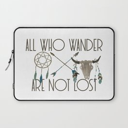 All Who Wander Are Not Lost Native American Dreamcatcher Arrows and Skull Laptop Sleeve