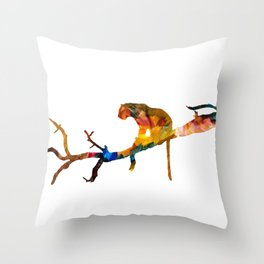 Colourful tiger resting on a tree Throw Pillow