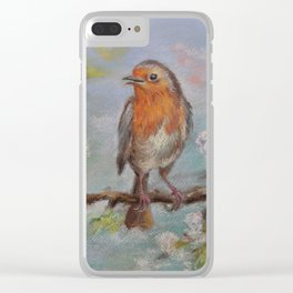 Red Robin Small bird on a blooming twig Wildlife spring scene Pastel drawing Clear iPhone Case
