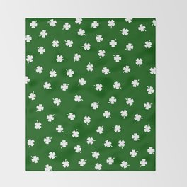 White Shamrocks Green Background Throw Blanket