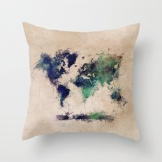 World Map splash raf Throw Pillow