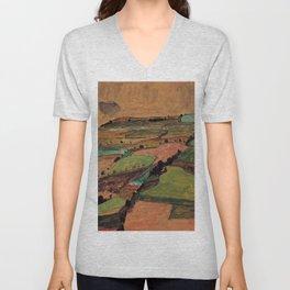 Rolling Plains at Harvest on the tartan hillsides landscape painting by Egon Schiele Unisex V-Neck