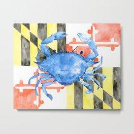 Watercolor Maryland Flag and Blue Crab Metal Print