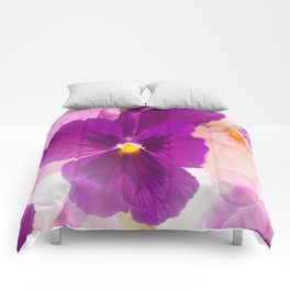 Flower Bouquet in Purple and Pink Colors  #decor #society6 #buyart Comforters