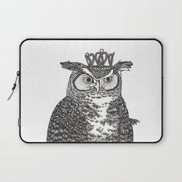 Great Horned Owl Wearing a Glittering Crown Laptop Sleeve