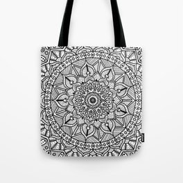 Circle of Life Mandala Black and White Tote Bag