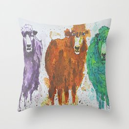 Three Ewes Throw Pillow