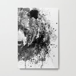 Black And White Half Faced Grizzly Bear Metal Print