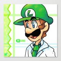luigi Canvas Prints featuring Dr. Luigi by Kirafrog