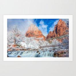 Photos Zion National Park USA Nature Winter Bridges mountain Waterfalls Parks bridge Mountains park Art Print